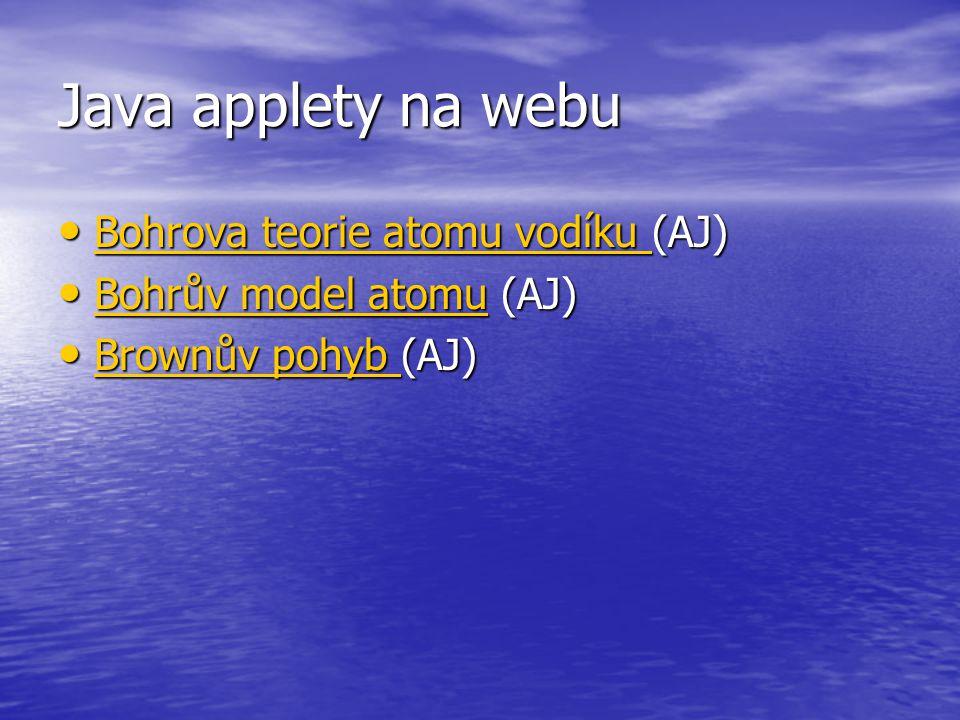 Java applety na webu Bohrova teorie atomu vodíku (AJ)