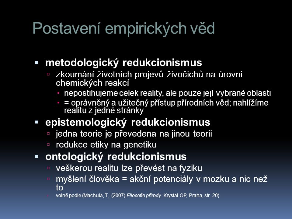 Postavení empirických věd