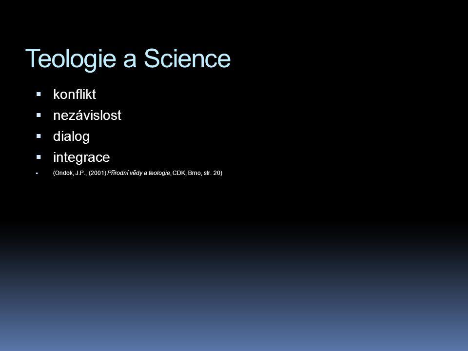 Teologie a Science konflikt nezávislost dialog integrace