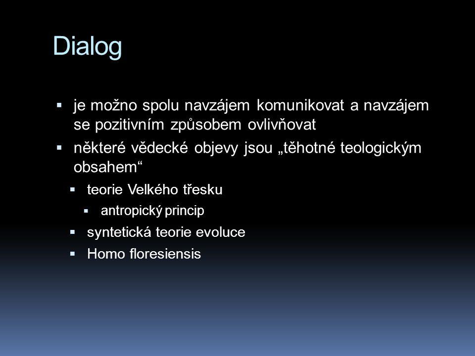 """Dialog je možno spolu navzájem komunikovat a navzájem se pozitivním způsobem ovlivňovat. některé vědecké objevy jsou """"těhotné teologickým obsahem"""