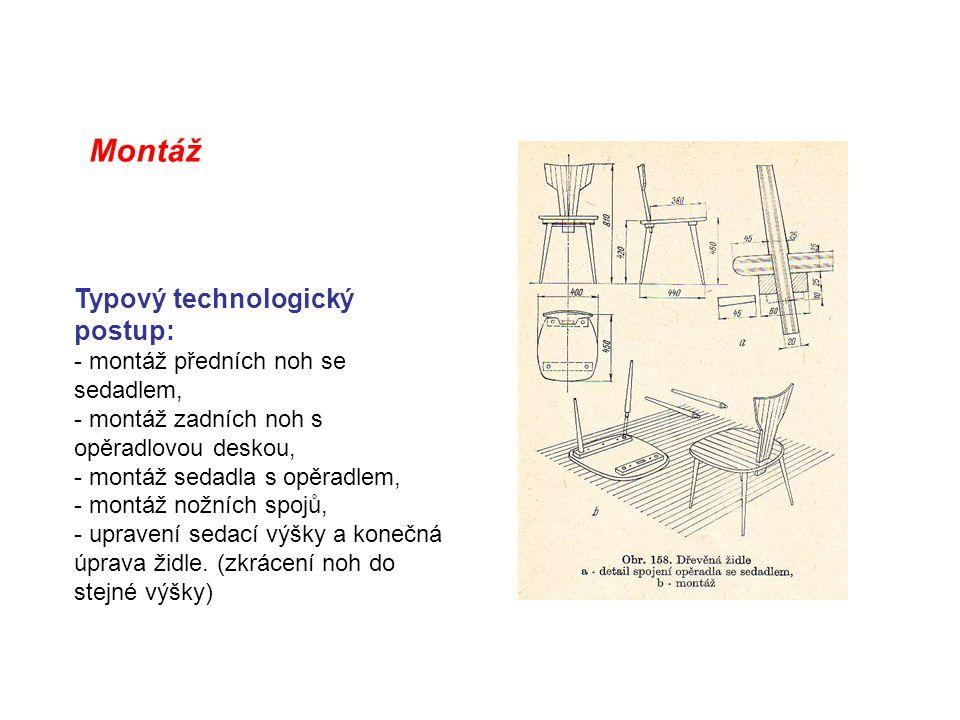 Montáž Typový technologický postup: - montáž předních noh se sedadlem,