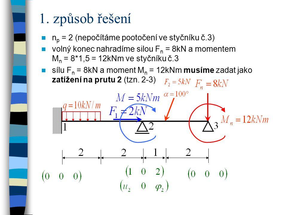 1. způsob řešení np = 2 (nepočítáme pootočení ve styčníku č.3)