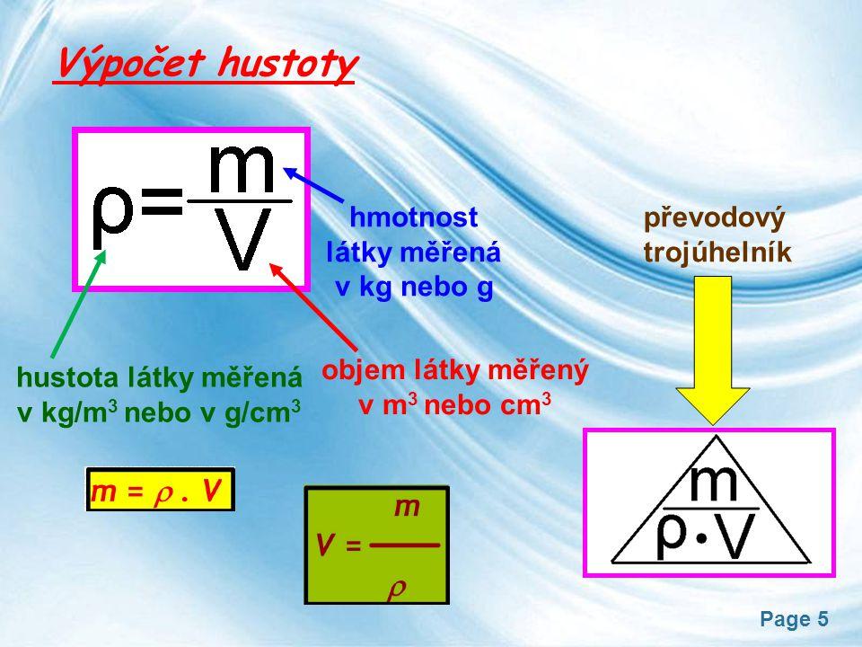 Výpočet hustoty hmotnost látky měřená v kg nebo g