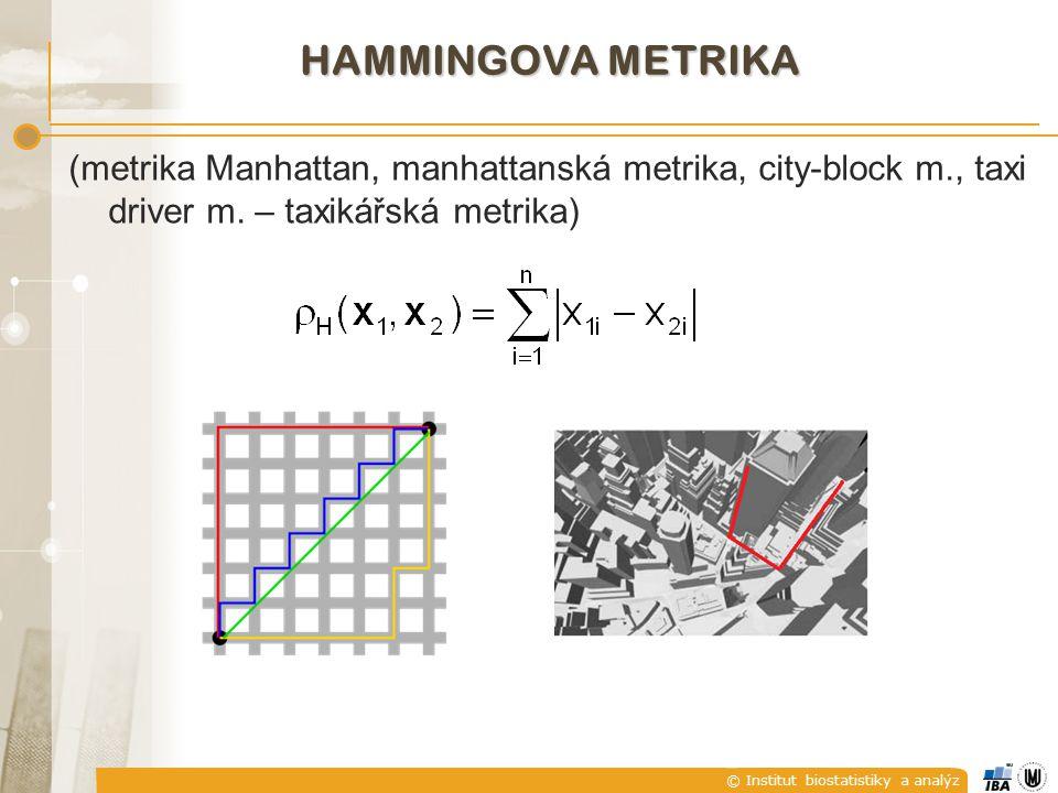 Hammingova metrika (metrika Manhattan, manhattanská metrika, city-block m., taxi driver m.