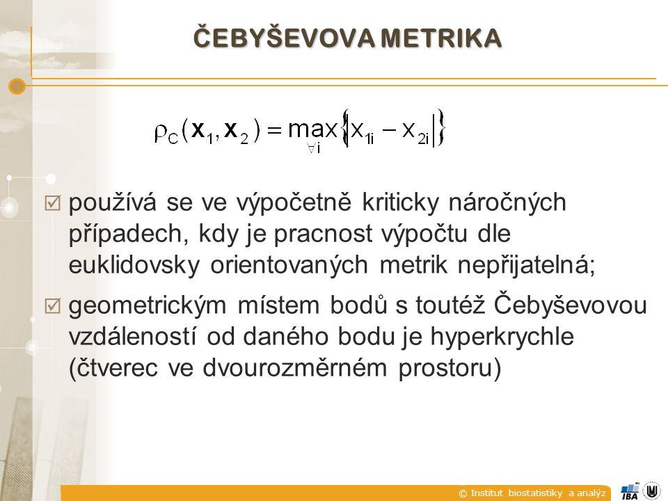 Čebyševova metrika používá se ve výpočetně kriticky náročných případech, kdy je pracnost výpočtu dle euklidovsky orientovaných metrik nepřijatelná;