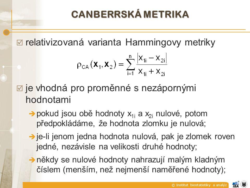 relativizovaná varianta Hammingovy metriky