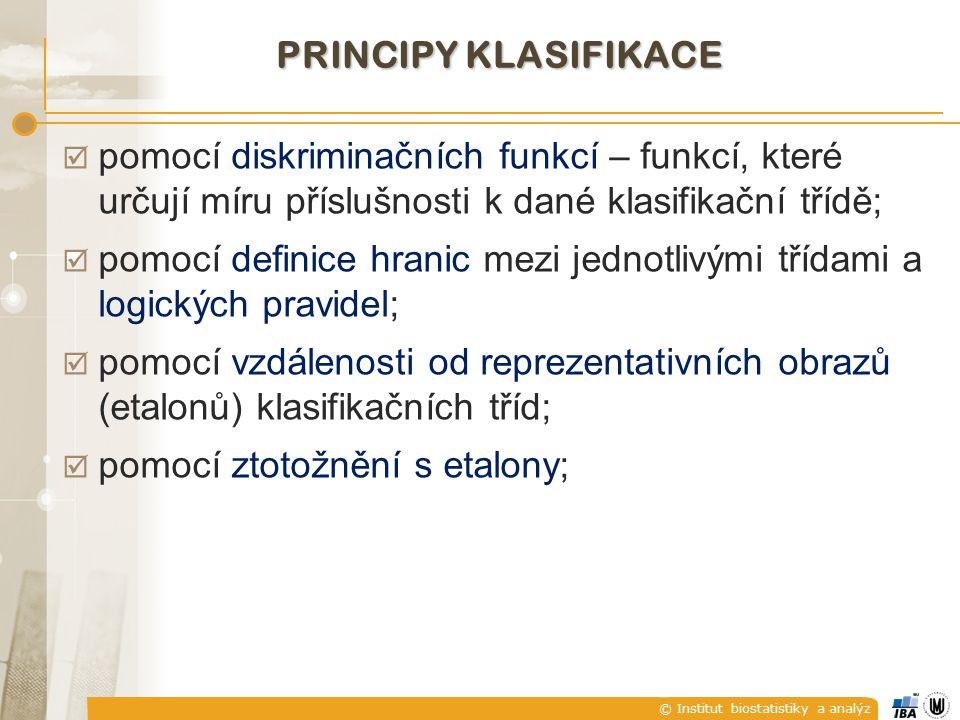 Principy klasifikace pomocí diskriminačních funkcí – funkcí, které určují míru příslušnosti k dané klasifikační třídě;