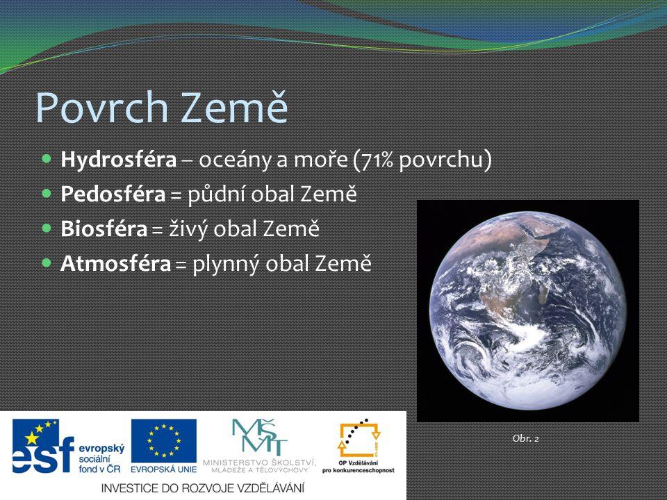 Povrch Země Hydrosféra – oceány a moře (71% povrchu)