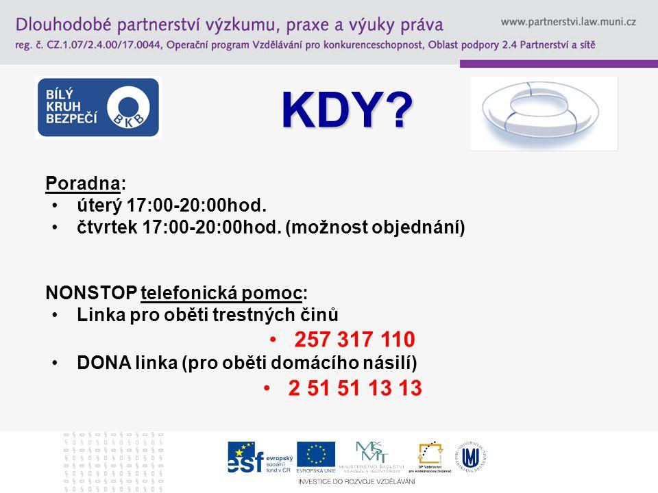 KDY 257 317 110 2 51 51 13 13 Poradna: úterý 17:00-20:00hod.