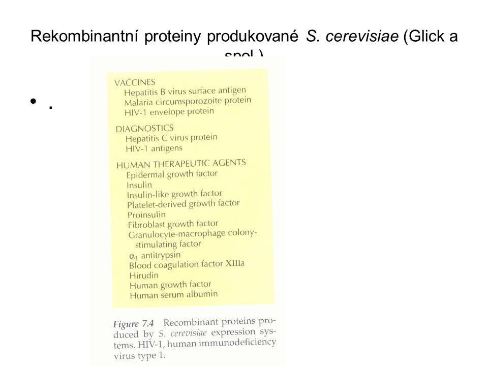 Rekombinantní proteiny produkované S. cerevisiae (Glick a spol.)