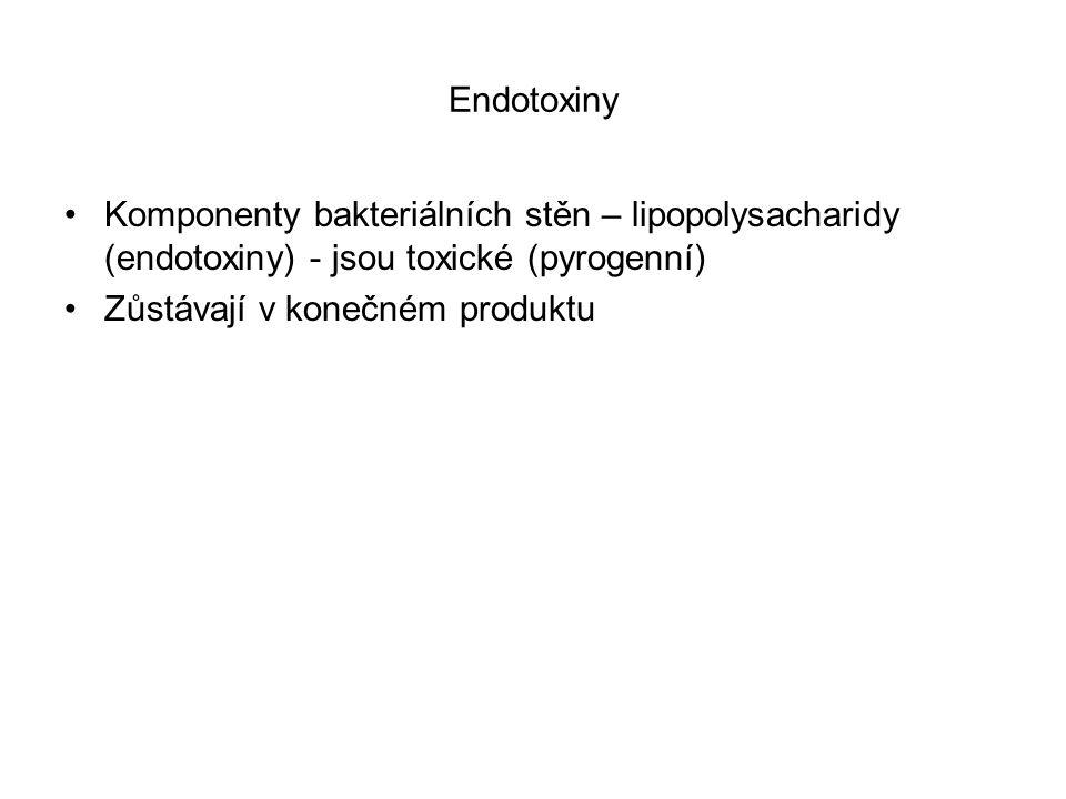 Endotoxiny Komponenty bakteriálních stěn – lipopolysacharidy (endotoxiny) - jsou toxické (pyrogenní)
