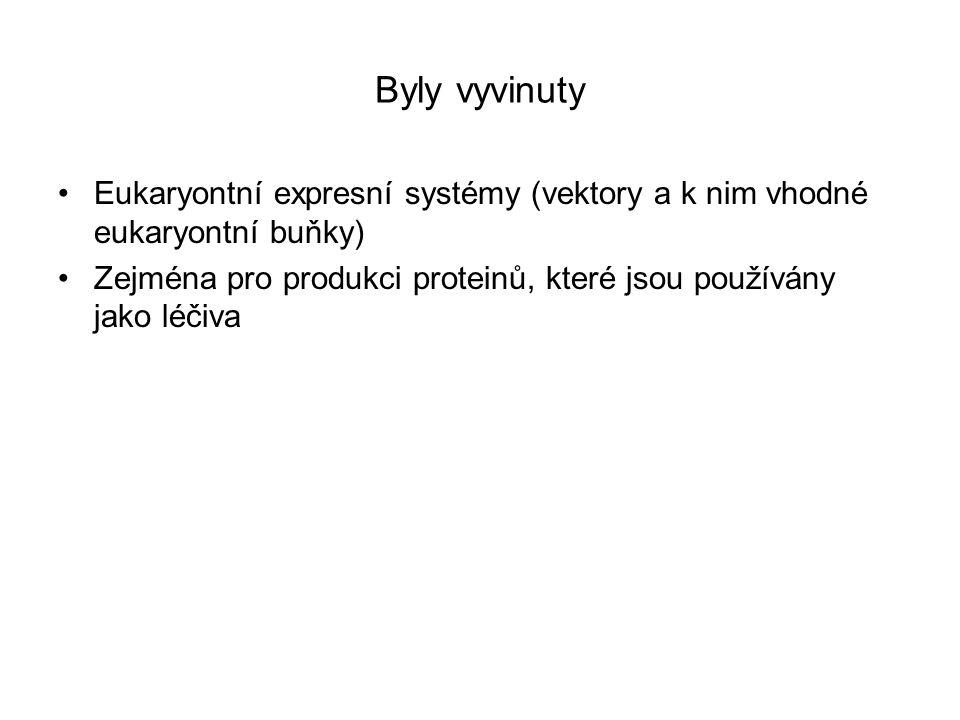 Byly vyvinuty Eukaryontní expresní systémy (vektory a k nim vhodné eukaryontní buňky)