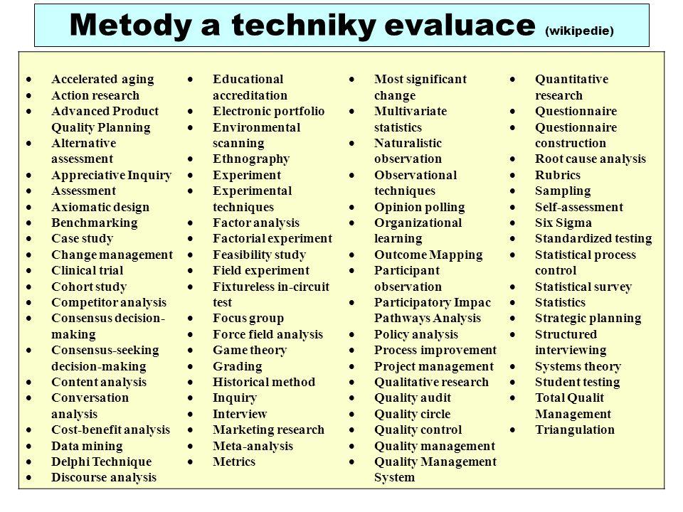 Metody a techniky evaluace (wikipedie)