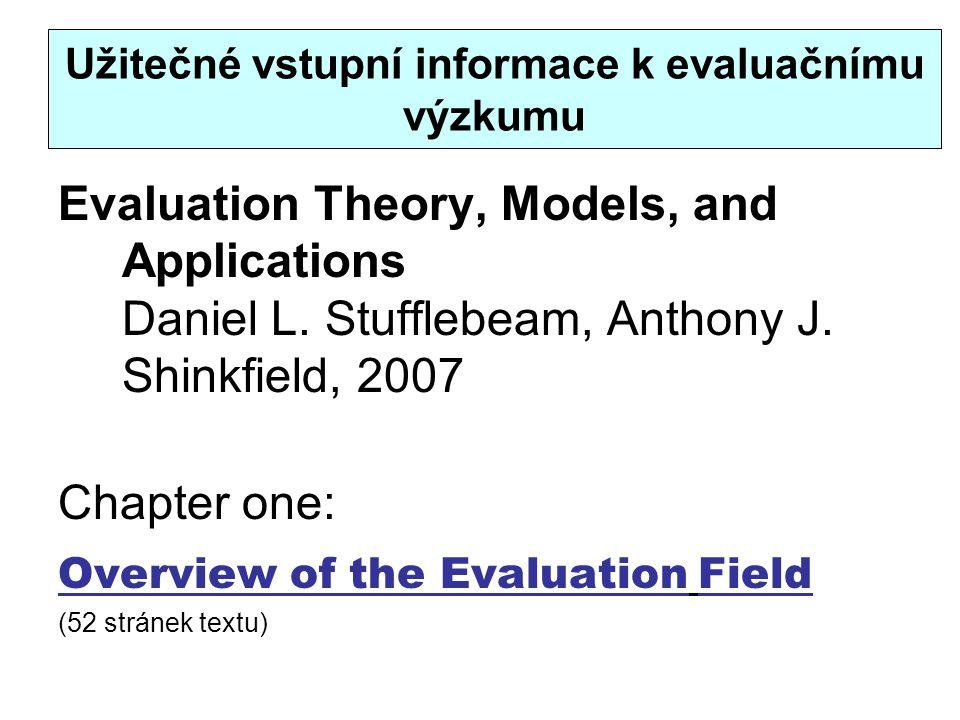 Užitečné vstupní informace k evaluačnímu výzkumu