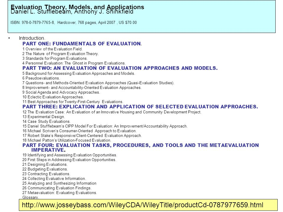 Evaluation Theory, Models, and Applications Daniel L