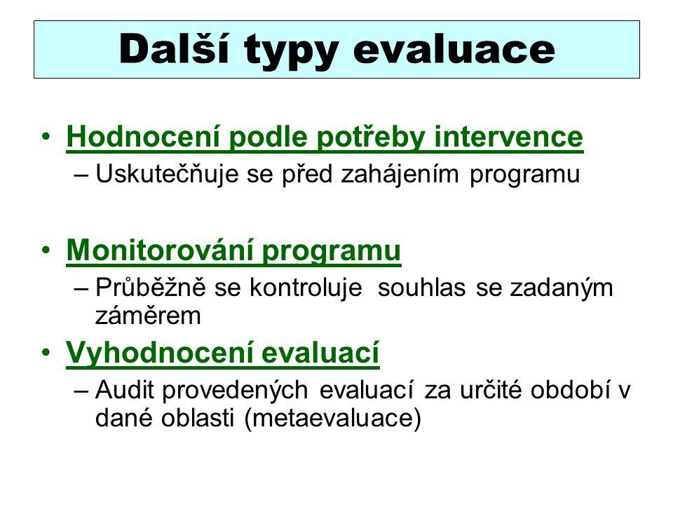 Další typy evaluace Hodnocení podle potřeby intervence