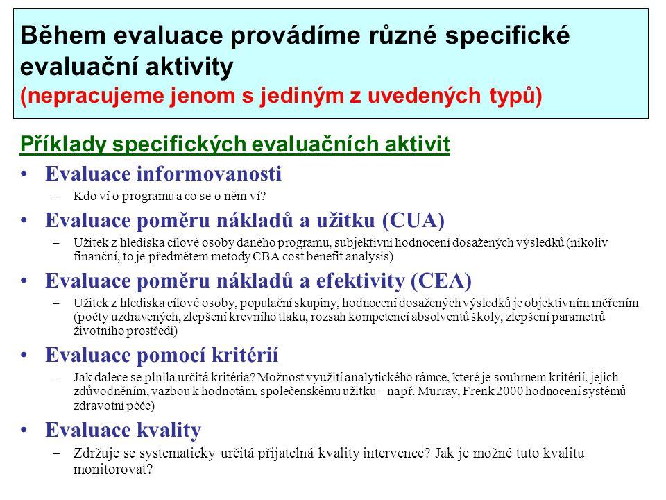Během evaluace provádíme různé specifické evaluační aktivity (nepracujeme jenom s jediným z uvedených typů)