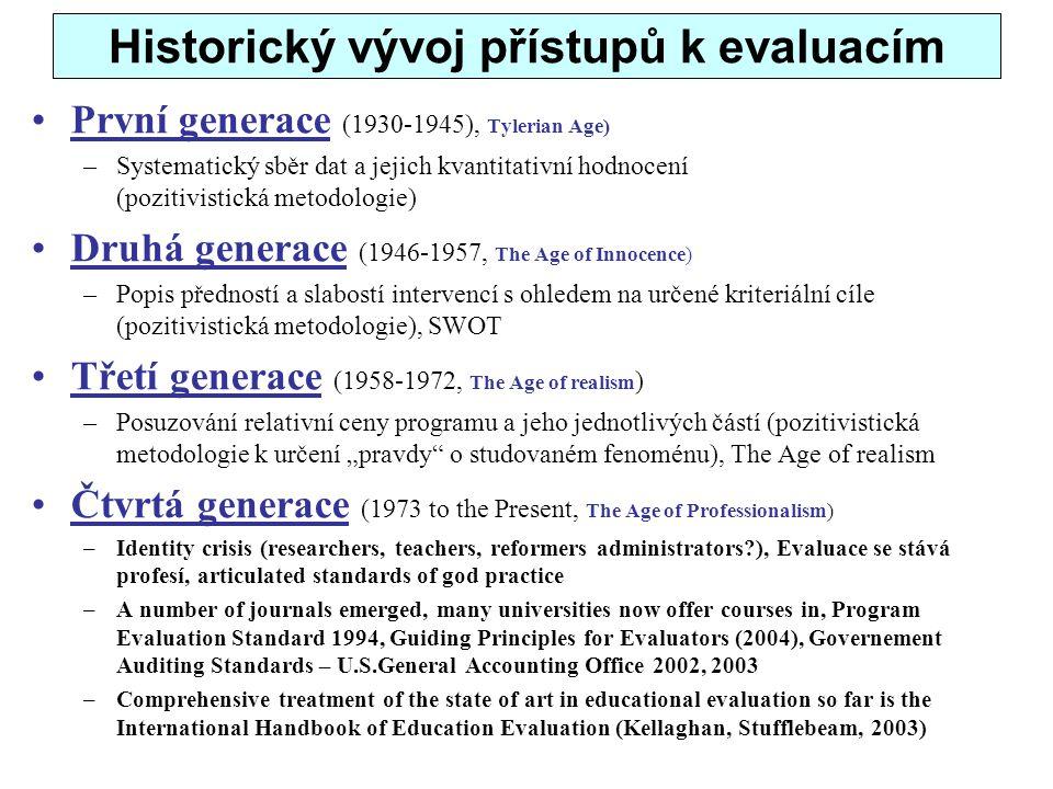 Historický vývoj přístupů k evaluacím