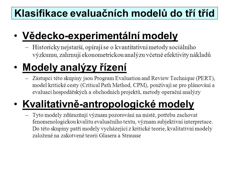 Klasifikace evaluačních modelů do tří tříd