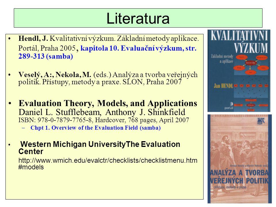 Literatura Hendl, J. Kvalitativní výzkum. Základní metody aplikace. Portál, Praha 2005, kapitola 10. Evaluační výzkum, str. 289-313 (samba)