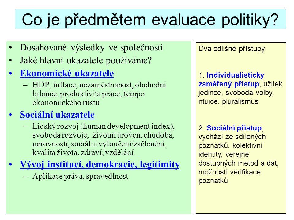 Co je předmětem evaluace politiky