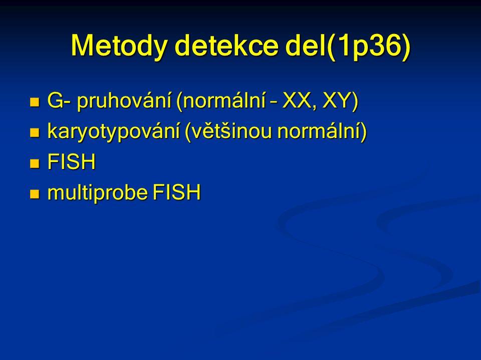 Metody detekce del(1p36) G- pruhování (normální – XX, XY)