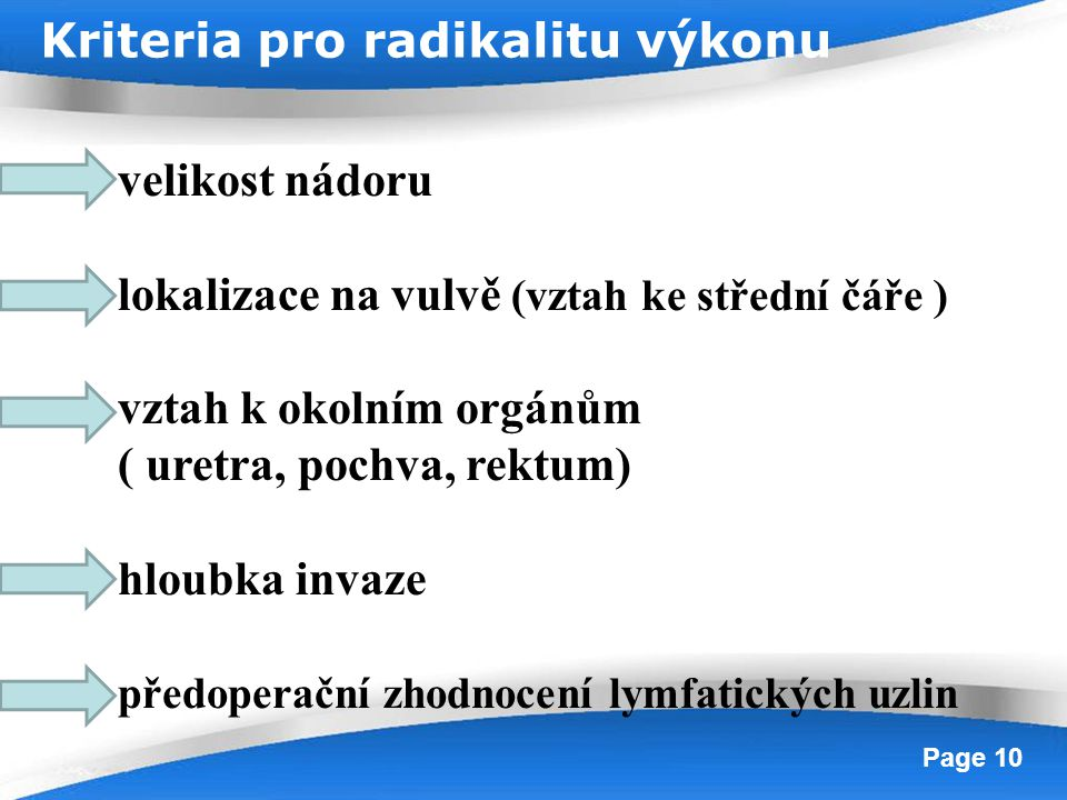 Kriteria pro radikalitu výkonu