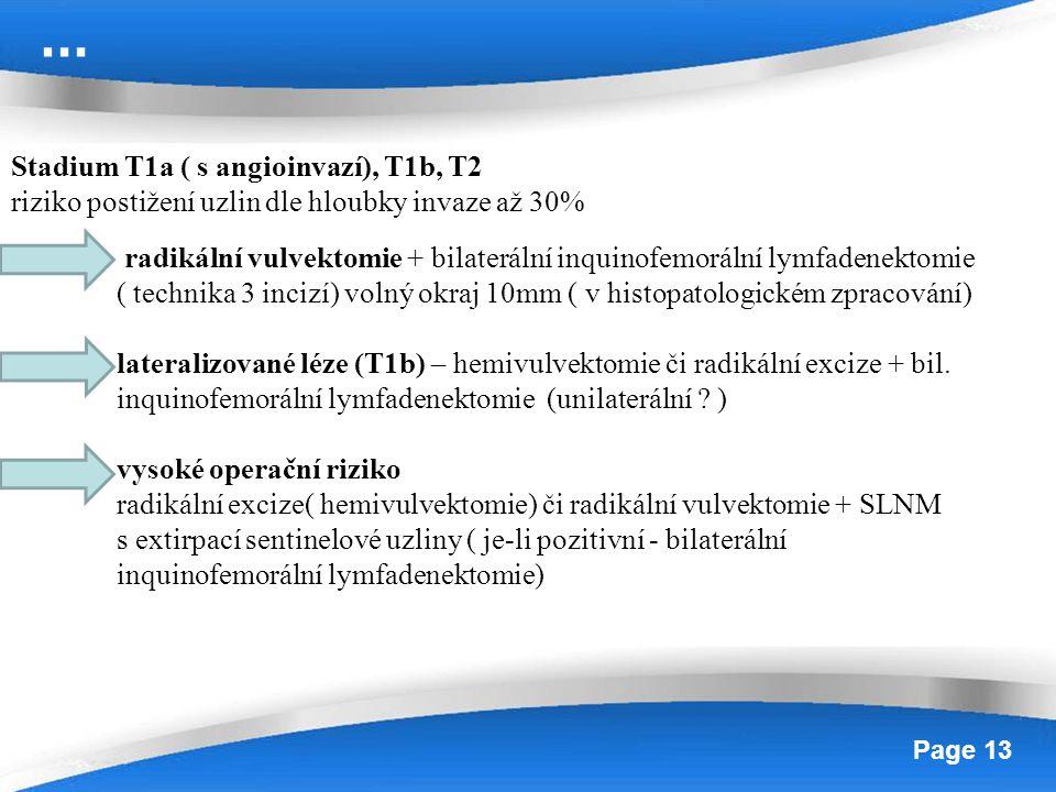 … Stadium T1a ( s angioinvazí), T1b, T2