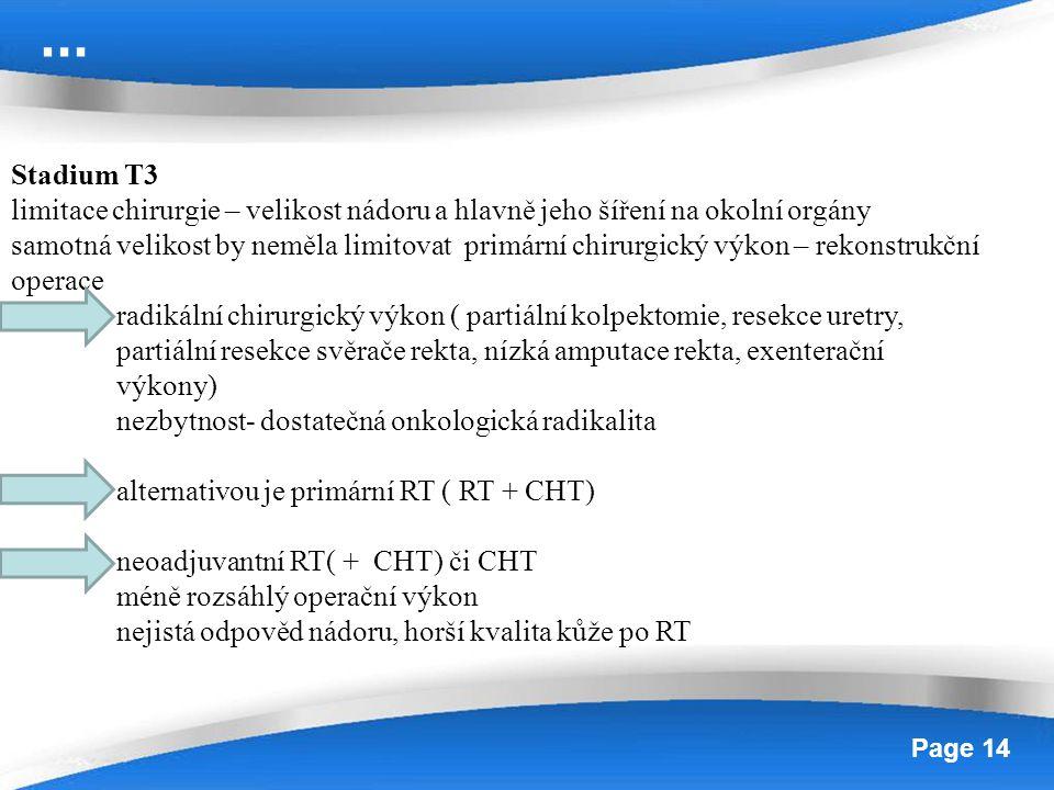 … Stadium T3. limitace chirurgie – velikost nádoru a hlavně jeho šíření na okolní orgány.