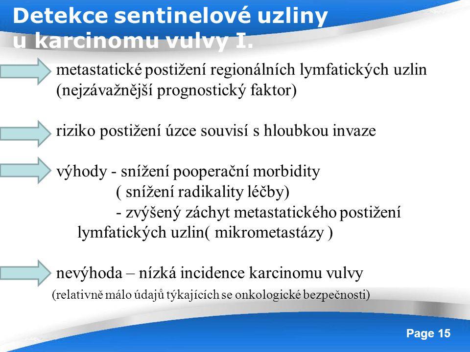 Detekce sentinelové uzliny u karcinomu vulvy I.
