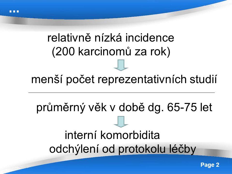 relativně nízká incidence (200 karcinomů za rok)