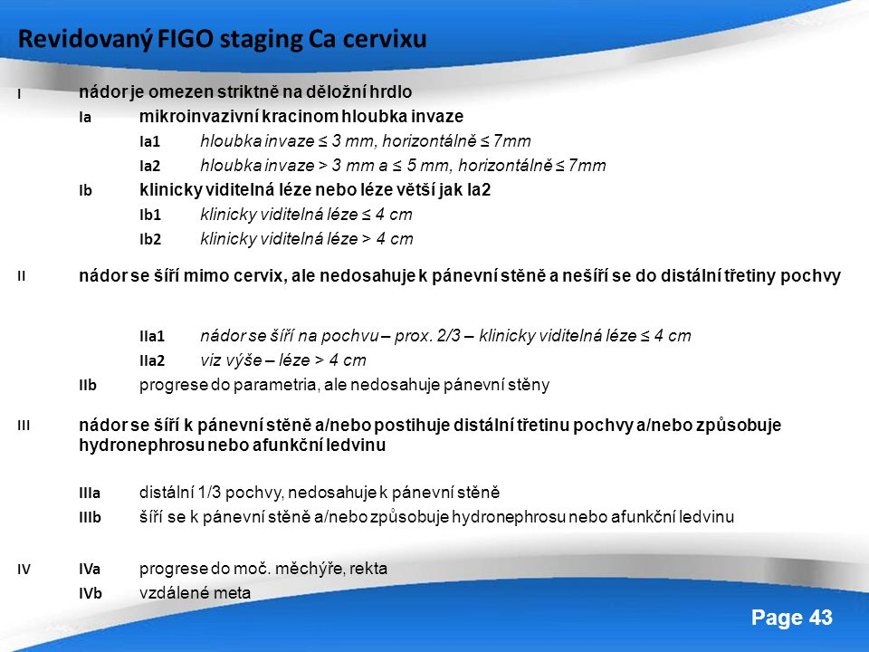 Revidovaný FIGO staging Ca cervixu