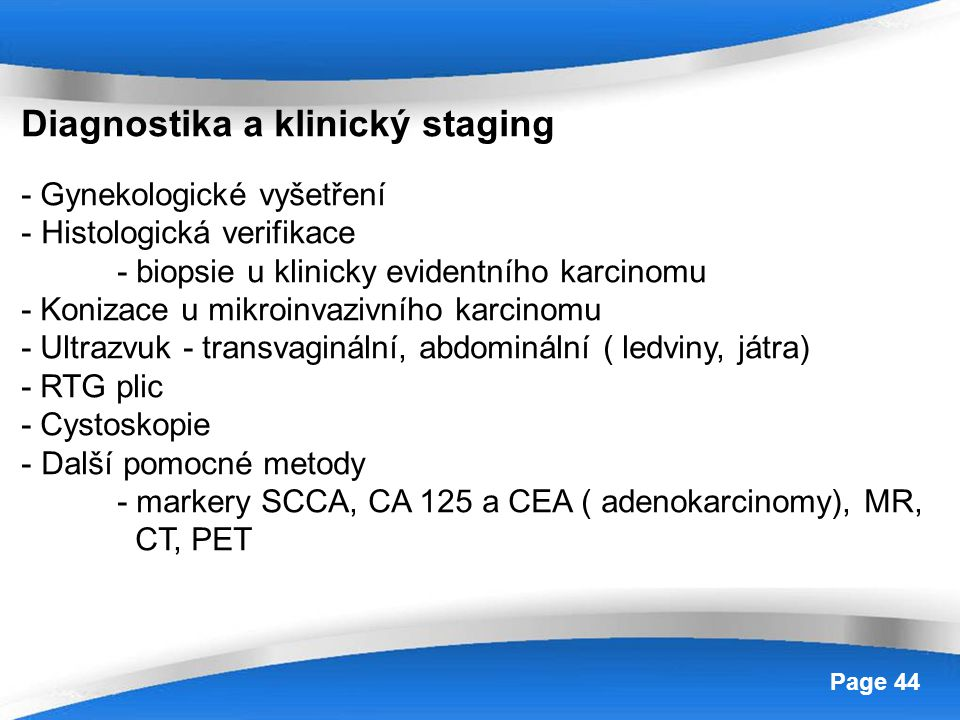 Diagnostika a klinický staging