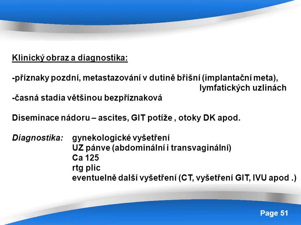 Klinický obraz a diagnostika: