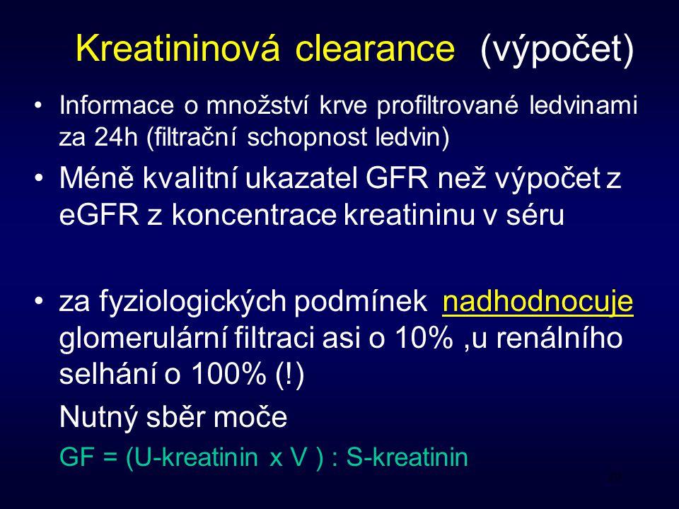 Kreatininová clearance (výpočet)