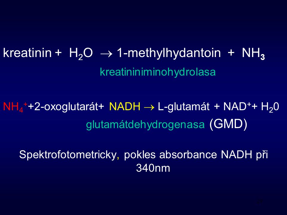 kreatinin + H2O  1-methylhydantoin + NH3
