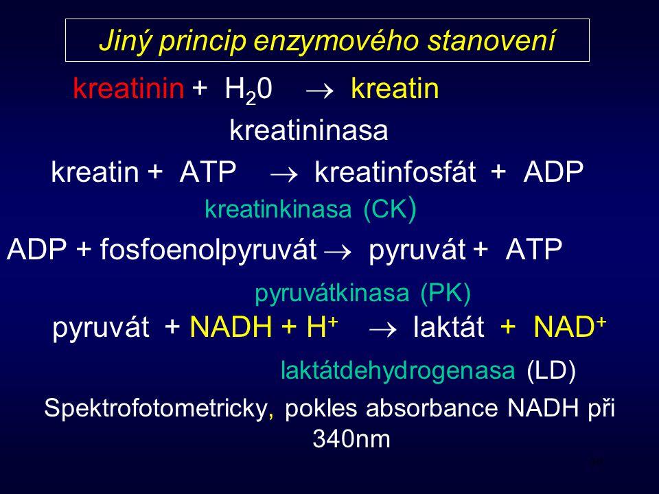 Jiný princip enzymového stanovení