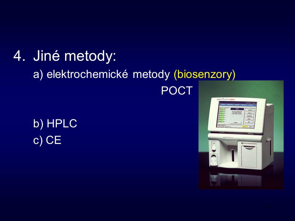 4. Jiné metody: a) elektrochemické metody (biosenzory) POCT b) HPLC