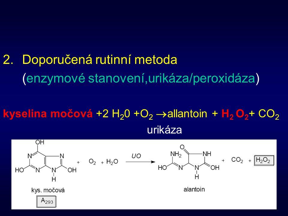 Doporučená rutinní metoda (enzymové stanovení,urikáza/peroxidáza)