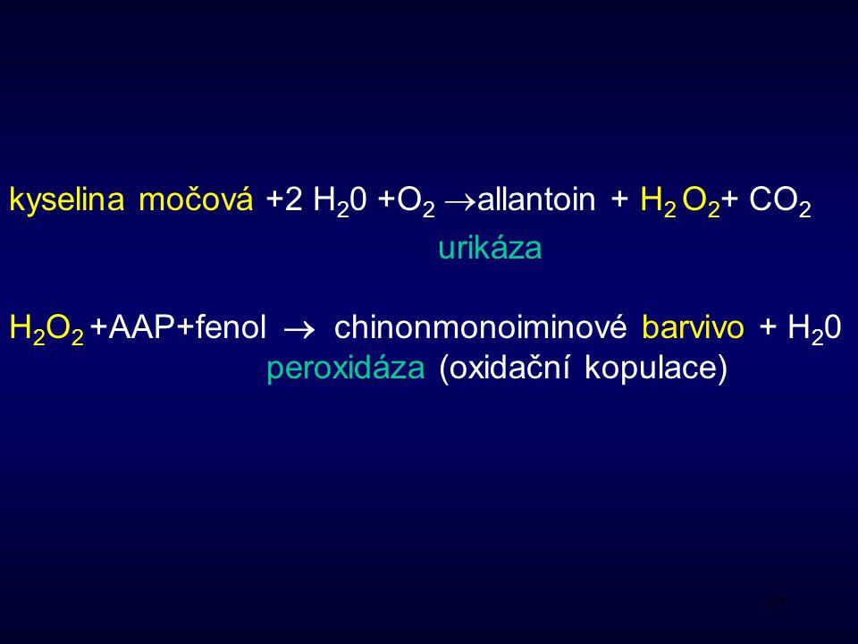kyselina močová +2 H20 +O2 allantoin + H2 O2+ CO2