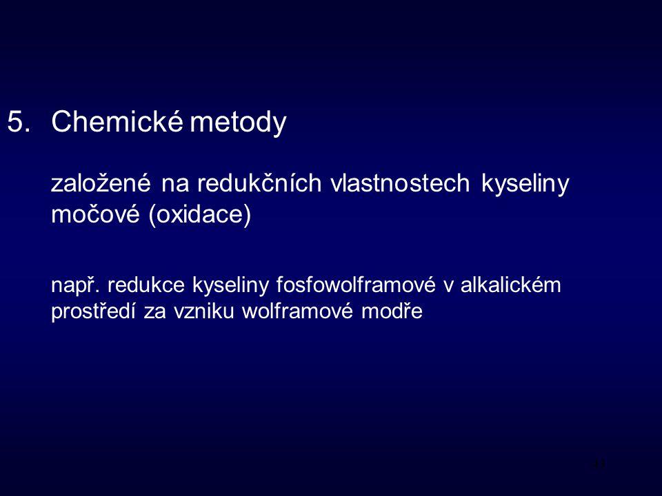 Chemické metody založené na redukčních vlastnostech kyseliny močové (oxidace)
