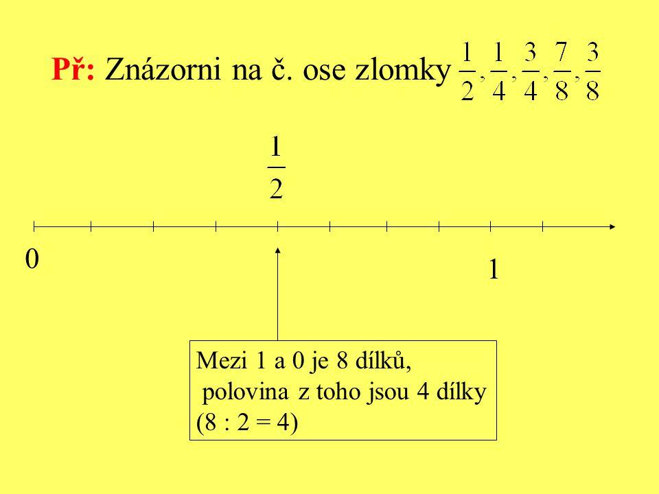Př: Znázorni na č. ose zlomky