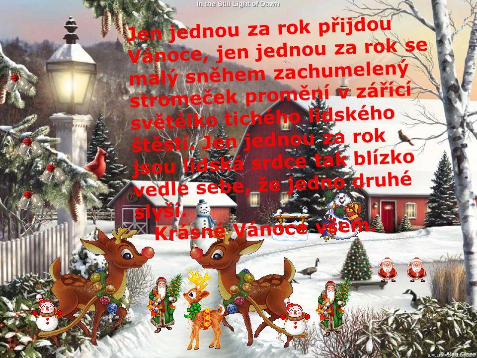 Jen jednou za rok přijdou Vánoce, jen jednou za rok se malý sněhem zachumelený stromeček promění v zářící světélko tichého lidského štěstí.