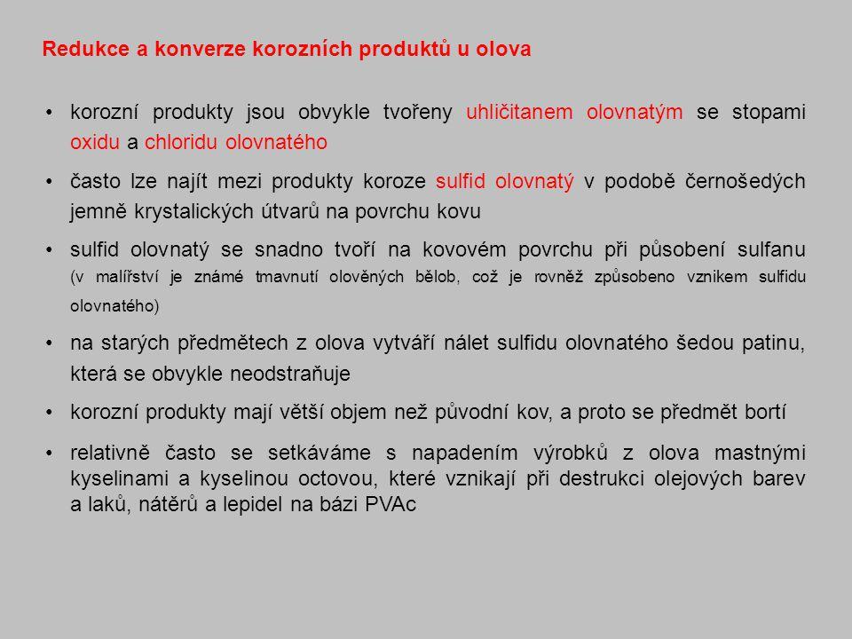 Redukce a konverze korozních produktů u olova