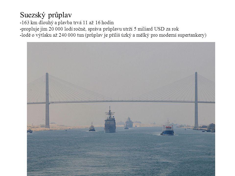 Suezský průplav 163 km dlouhý a plavba trvá 11 až 16 hodin