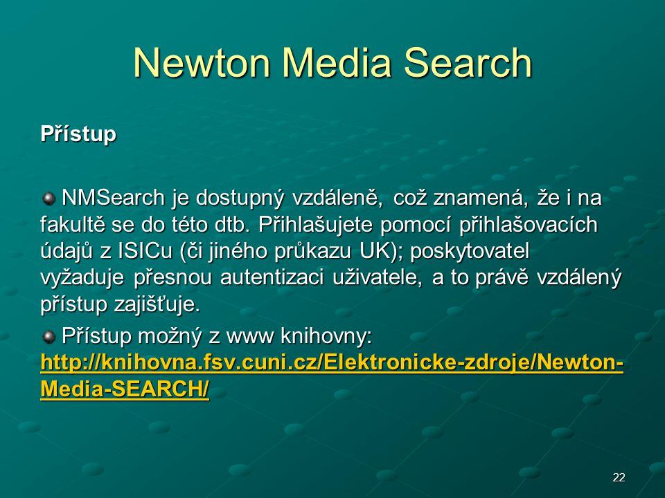 Newton Media Search Přístup