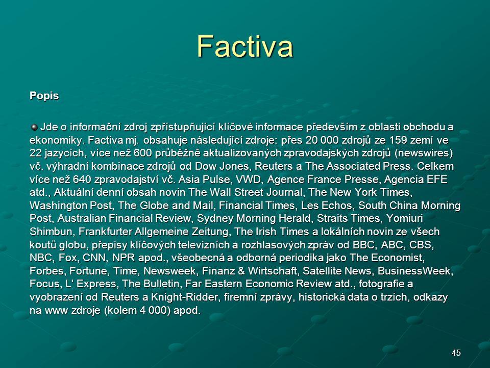 Factiva Popis.