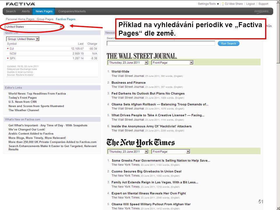 """Příklad na vyhledávání periodik ve """"Factiva Pages dle země."""
