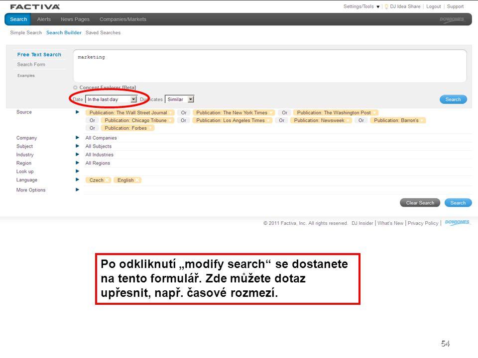 "Po odkliknutí ""modify search se dostanete na tento formulář"