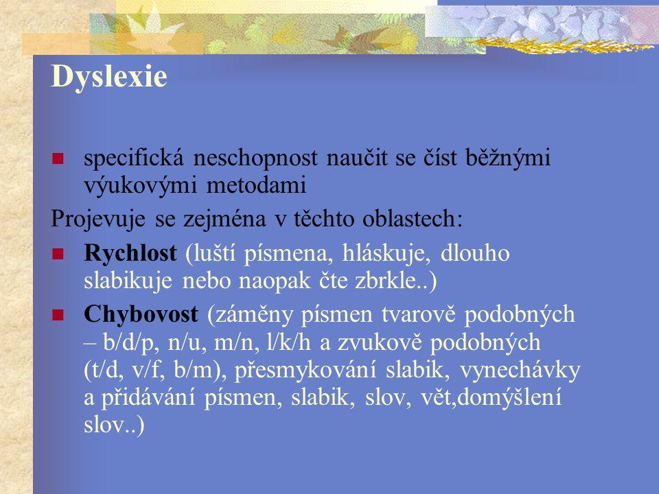 Dyslexie specifická neschopnost naučit se číst běžnými výukovými metodami. Projevuje se zejména v těchto oblastech: